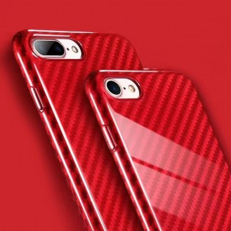 Carbon Textur Cover iPhone 7 Plus Rot