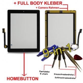 iPad 3 Touchscreen Glas Schwarz Homebutton und Kleber