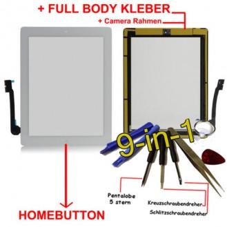 iPad 3 Touchscreen Glas weiss Homebutton und Kleber vorinstaliert