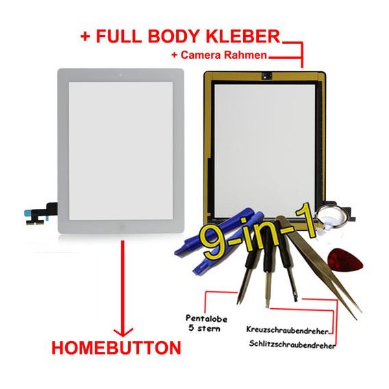 iPad 2 Touchscreen Glas weiss Homebutton und Kleber