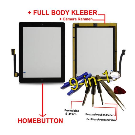 iPad 4 Touchscreen Glas Schwarz Homebutton und Kleber
