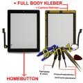 iPad 4  Touchscreen Glas Schwarz Homebutton und Kleber vorinstaliert