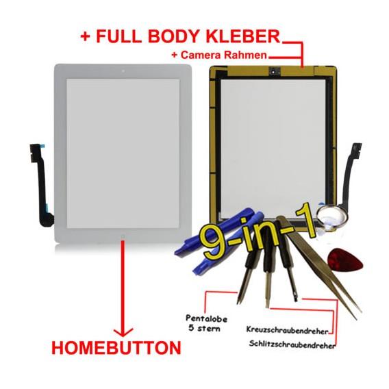 iPad 4 Touchscreen Glas weiss Homebutton und Kleber