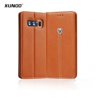 Braun Edel Leder Etui Case Cover Galaxy Note 8