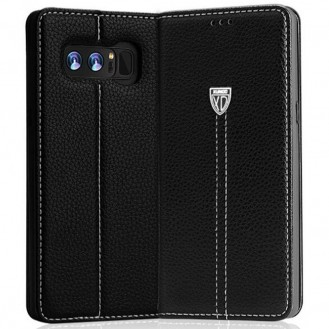 Schwarz Edel Leder Etui Case Cover Galaxy Note 8