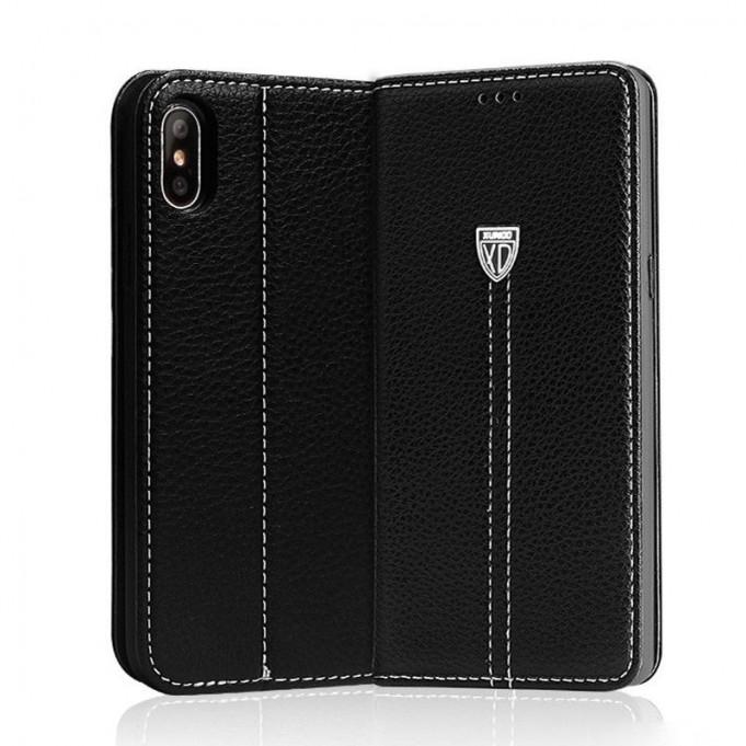 Schwarz Edel Leder Book Tasche iPhone X