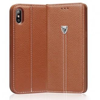 Braun Edel Leder Book Tasche iPhone X