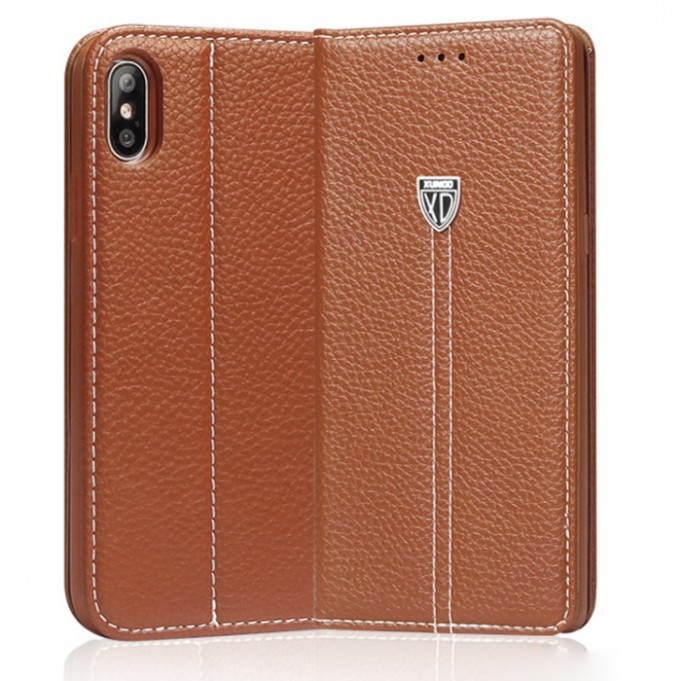 Braun Edel Leder Book Tasche iPhone X