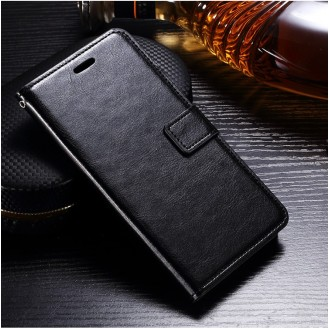 Schwarz Book Leder Tasche Huawei Mate 9