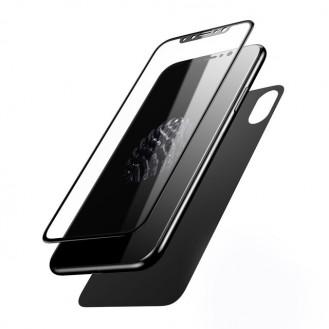 Baseus Panzerglas Beide Seiten Schwarz iPhone X