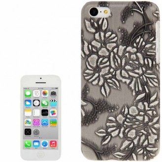 Grau Blumen Hülle Hard Case iPhone 5C
