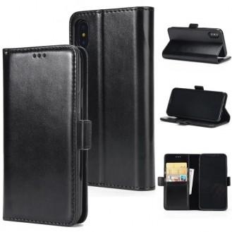 iPhone X Schwarz Book Leder Tasche