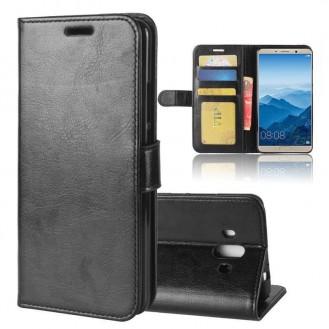 Schwarz Book Leder Tasche Huawei Mate 10