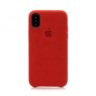 ALCANTARA iPhone X Leder Cover Rot