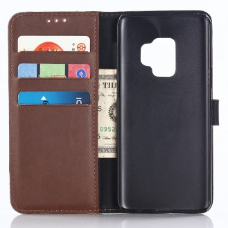 Leder Book Case Etui Galaxy S9 Braun
