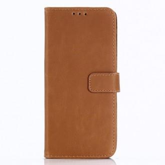 Leder Book Case Etui Galaxy S9 Hell-Braun