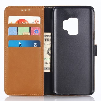 Leder Book Case Etui Galaxy S9 Plus Hell-Braun
