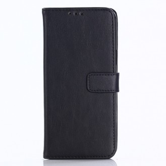 Leder Book Case Etui Galaxy S9 Plus Schwarz