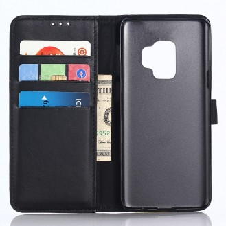 Leder Book Case Etui Galaxy S9 Plus Schwarz