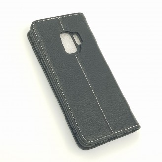 XUNDD Leder Book Hülle Galaxy S9 Plus Schwarz
