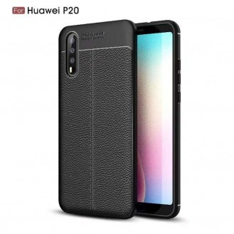 Huawei P20 Luxushülle Leder Backcover Schwarz