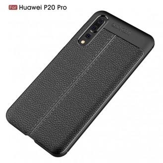 Huawei P20 Pro Luxushülle Leder Backcover Schwarz