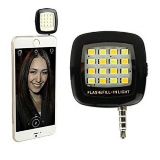 Selfie LED Licht Lampe Handy Smartphone Blitzlicht schwarz