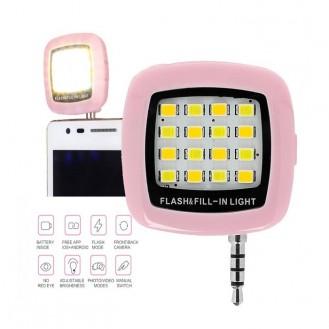 Selfie LED Licht Lampe Handy Smartphone Blitzlicht Pink