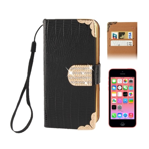 Kreditkarten Slot Bling Ledertasche Etui Schwarz iPhone 5C