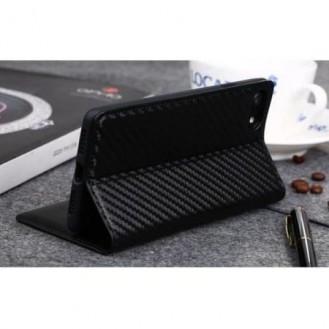Carbon Leder Book Case iPhone 7 , 8 Schwarz