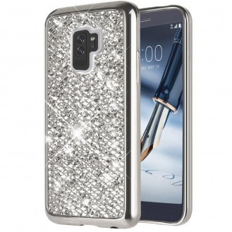 Silber Bling Silikon  Hülle Samsung Galaxy S9