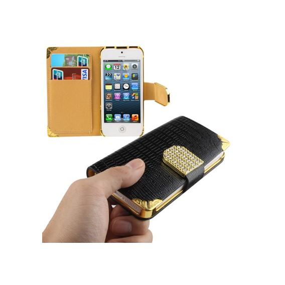 Bling Bling Book Case Schwarz iPhone 5 / 5S / SE