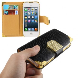 Bling Bling Book Case Schwarz iPhone 5 / 5S / SE