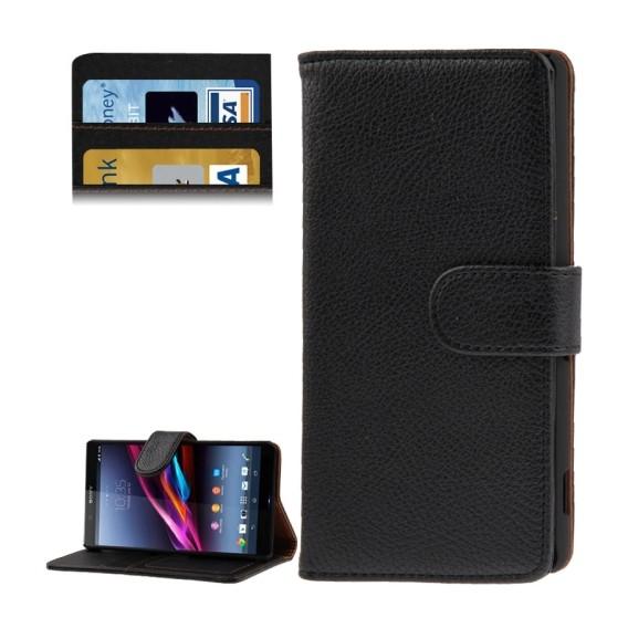 Leder Kreditkarte Ledertasche Etui Sony Xperia Z2 / L50w Schwarz