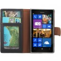 Leder Kreditkarte Ledertasche Etui Nokia Lumia 925 Schwarz