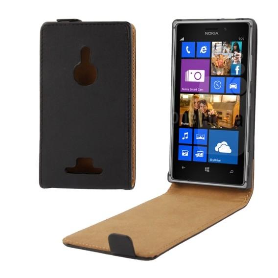 Schwarz Flip Leder Etui Tasche Nokia Lumia 925
