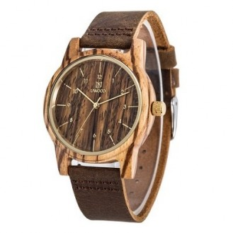 UWOOD Natural Wood Watches Holzuhr Zebraholz