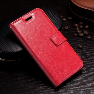 Leder Book Case Etui Galaxy Note 9 Rot