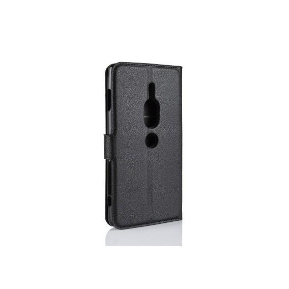 Leder Book Case Etui Xperia XZ2 Compact Schwarz