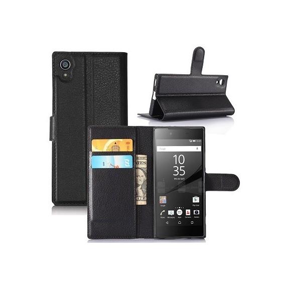 Leder Book Case Etui Xperia XA1 Ultra Schwarz