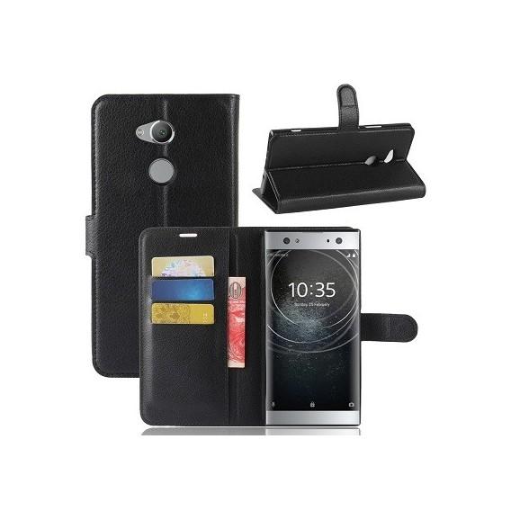 Leder Book Case Etui Xperia XA2 Ultra Schwarz