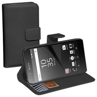 Xperia Z5 Compact Leder Book Case Etui Schwarz