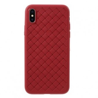 Woven Pattern TPU Soft Hülle Rot fur iPhone XR