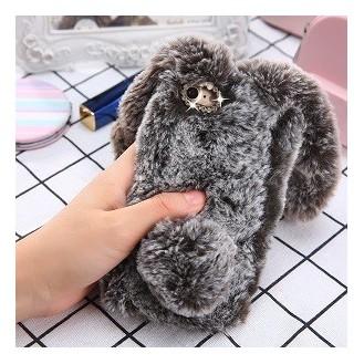 Neuer Kaninchen Pelz fur iPhone XS Max Braun