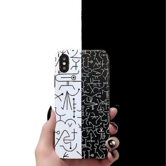 iPhone XS Max Hieroglyphs Etui Hulle Schwarz Weiss