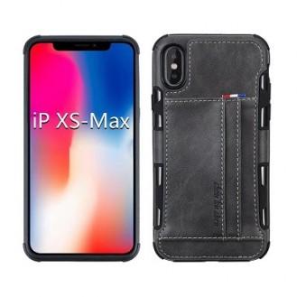 iPhone XS Max Leder Etui Hülle Grau