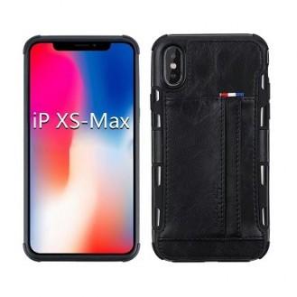iPhone XS Max Leder Etui Hülle Schwarz