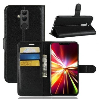 Huawei Mate 20 Lite Leder Hülle Etui Schwarz