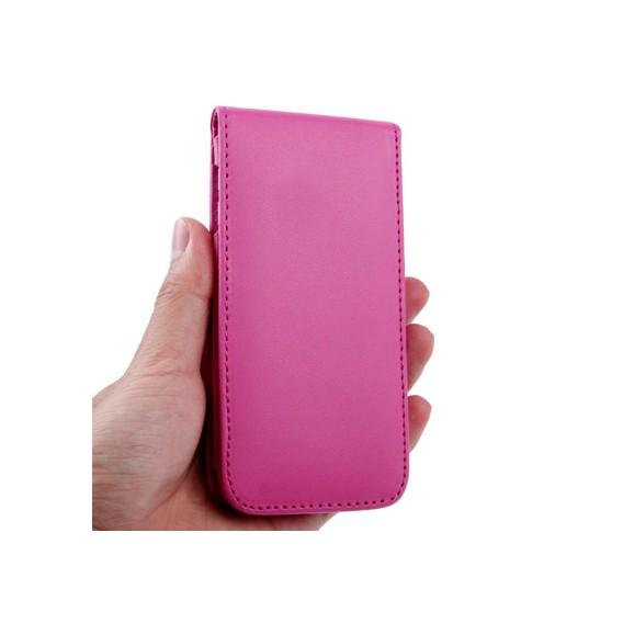 Vertikal Flip Leder Etui mit Kartenplatz für iPod touch 5th rosa