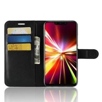 Huawei Y7 (2018) Leder Hülle Etui Schwarz